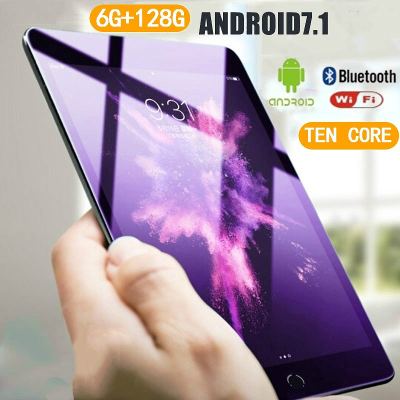 2020 WiFi Tablet PC 10.1 Inch 6G+128GB Ten Core 4G Network Android 7.1 Arge 2560*1600 IPS Dual SIM Dual Camera Rear 5.0MP IPS