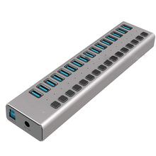 USB 3,0 концентратор 16 Порты и разъёмы usb-хаб с Мощность адаптер/зарядки Порты и разъёмы/индивидуальный Мощность переключатели для Windows Vista/7/8/10 MacOS-8/9/X