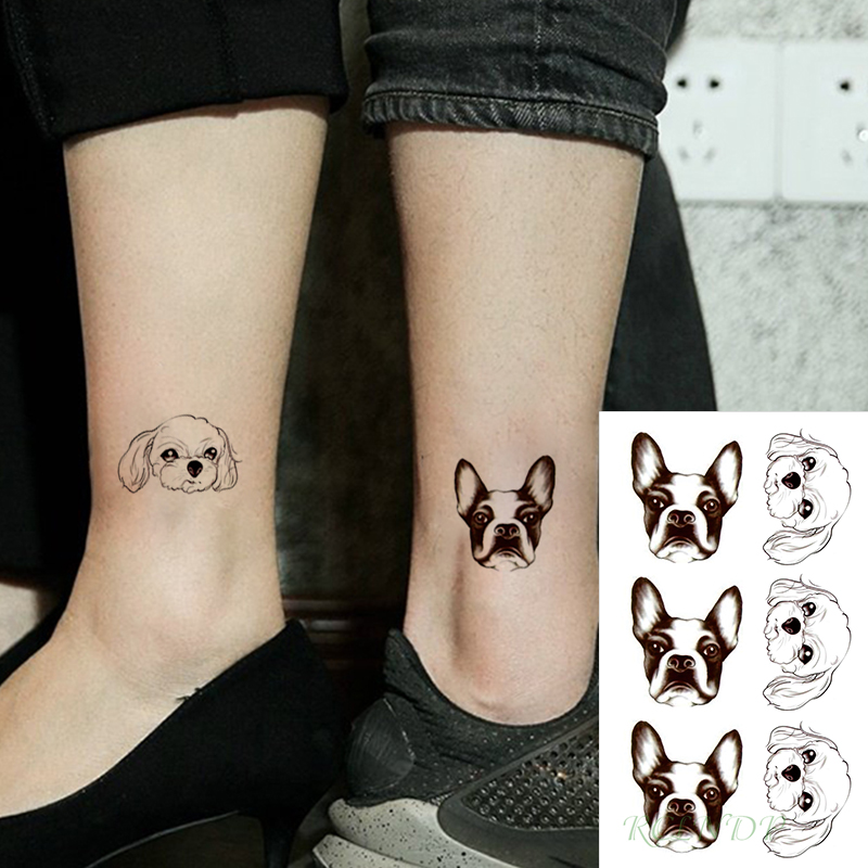 Waterproof Temporary Tattoo Stickers Cartoon Lovely Dog Head Animal Fake Tatto Flash Tatoo Small Tattoos For Girl Women Men Kid