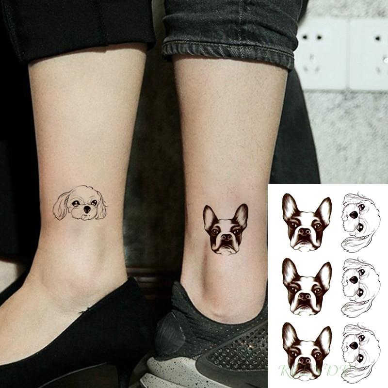 Waterproof Temporary Tattoo Stickers Cartoon Lovely Dog Head Animal Fake Tatto Flash Tatoo Small Tattoos For Girl Women Men Kid