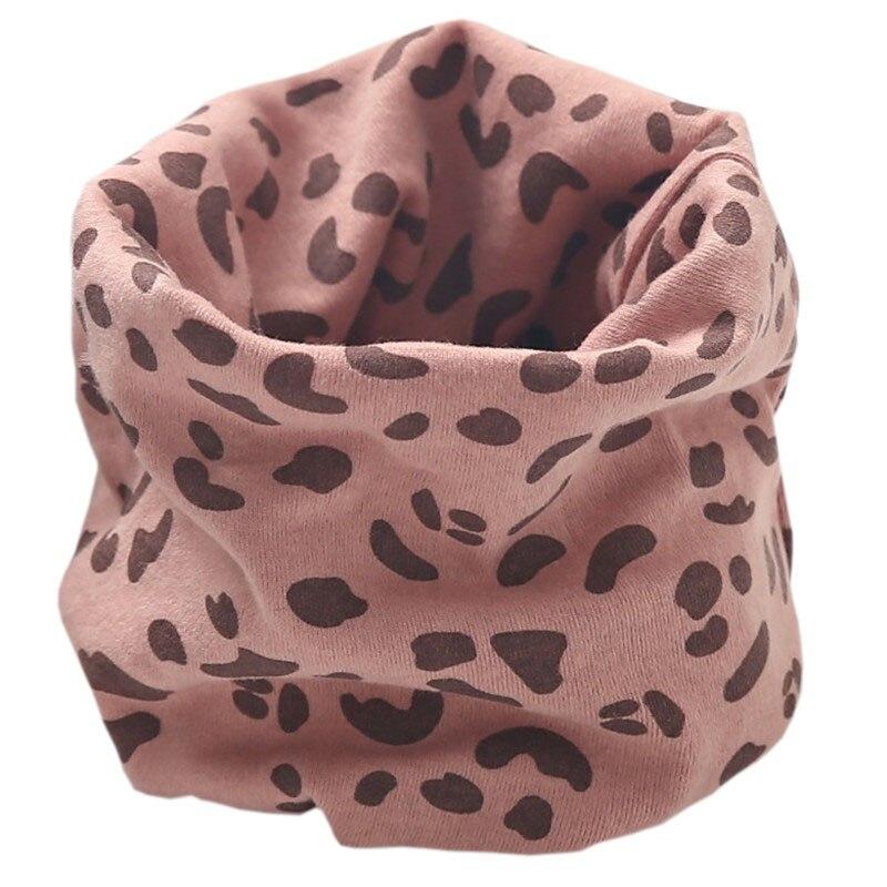 Новинка; Модный хлопковый шарф для маленьких девочек; осенне-зимний шарф для маленьких мальчиков; Детский шарф с круглым вырезом; Детские шарфы; волшебный шейный платок - Цвет: dark pink leopard