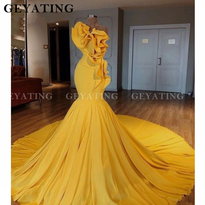 Arabic Yellow Satin One Shoulder Mermaid Prom Dresses Ruffles Long Train Women Formal Evening Dress 2020 Dubai Party Gowns New