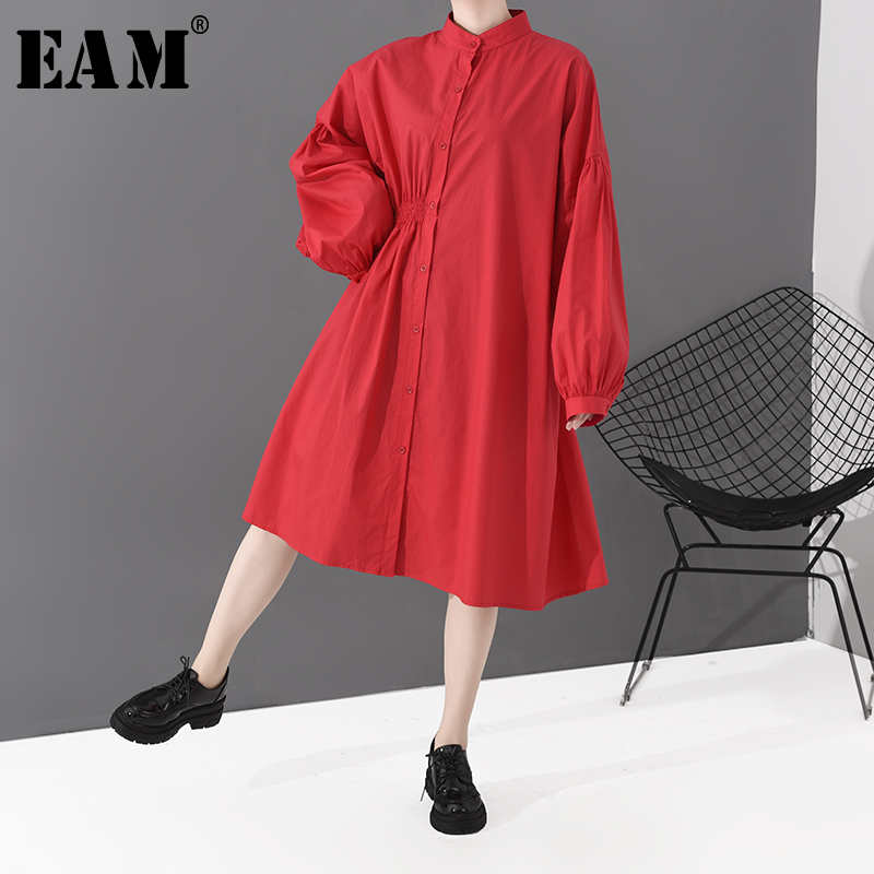 [EAM] Women Red Pleated Split Big Size Shirt Dress New Stand Collar Long Sleeve Loose Fit Fashion Tide Spring Autumn 2020 1S808
