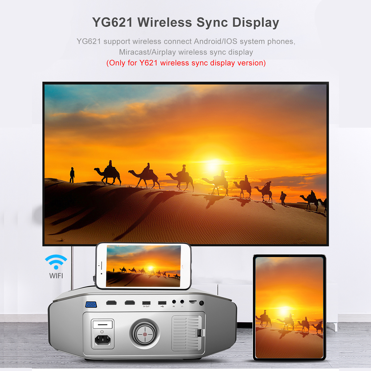 AAO YG620 Full HD Projektor Native 1920x1080 P 3D Proyector YG621 Drahtlose WiFi Multi Bildschirm HDMI VGA USB Mini Home Theater - 3