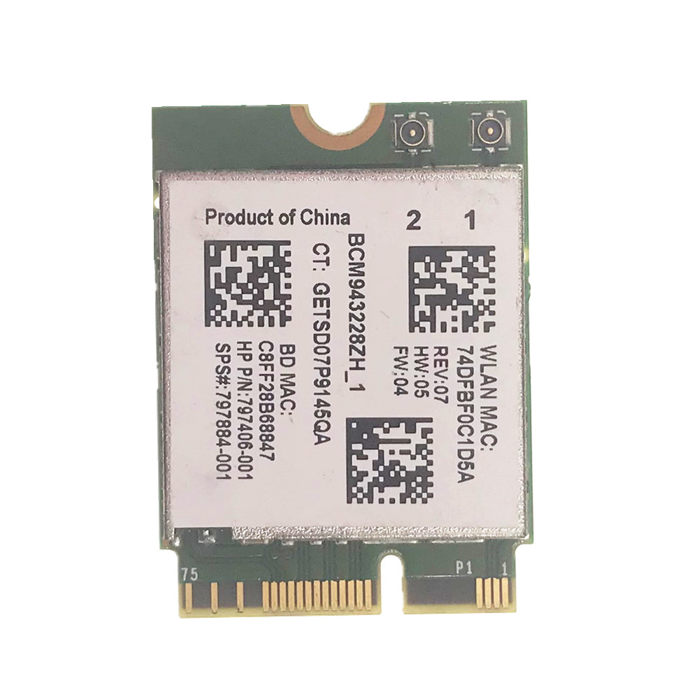 BCM943228ZH BCM943228Z WIFI BT Bluetooth 4.0 NGFF 300Mbps WLAN Card 802.11a/b/g/n SPS 797884-001 For HP
