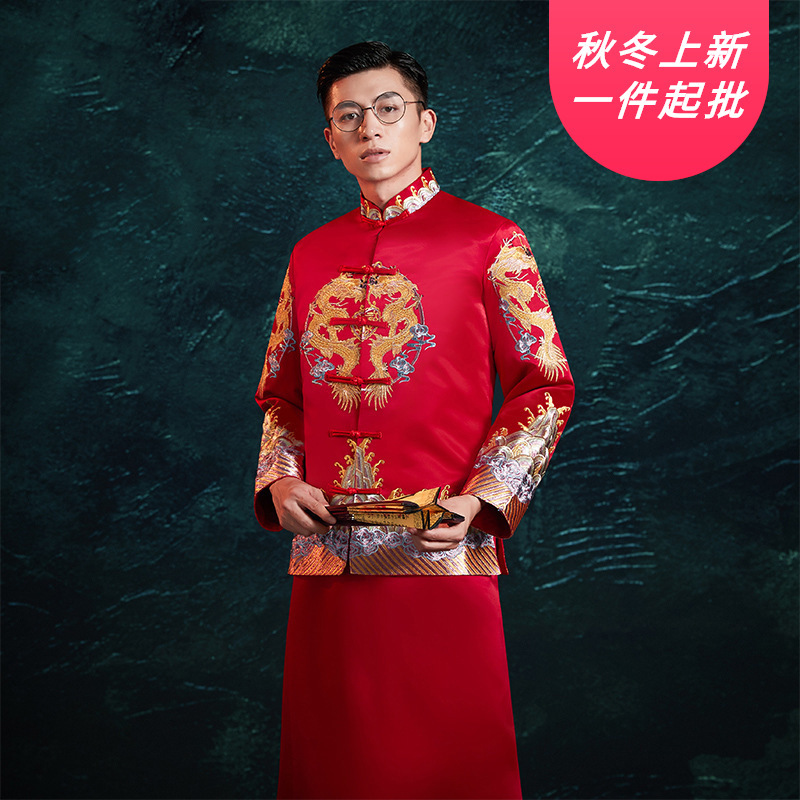 Smoking Masculino Bridegroom Suit Chinese Wedding Dress Dragon Phoenix Jacket Tang Men's Xiuhe Large Size Show And Wholesale