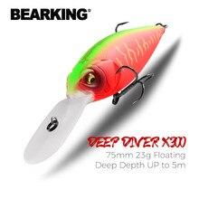 Bearking 75mm 23g superior iscas de pesca flutuante manivela isca mergulhador profundo isca de alta qualidade hard iscas ação profissional wobbler