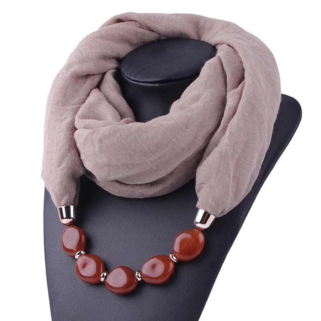 Multi-style Decorative Jewelry Necklace Resin Beads Pendant Scarf Women Head Scarves Hijab Cotton Linen Soft Echarpe Femme #YJ