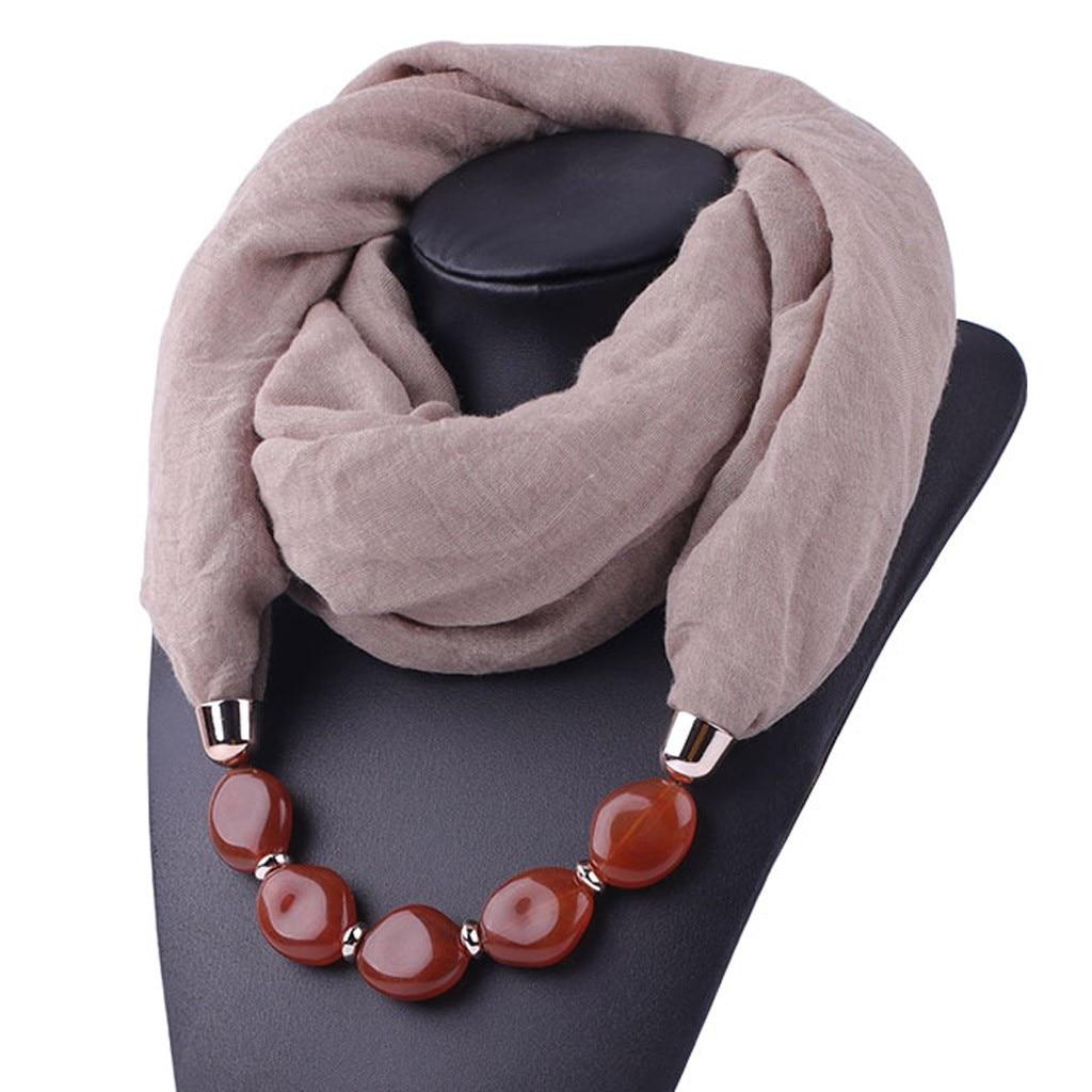 Multi-style Decorative Jewelry Necklace Resin Beads Pendant Scarf Women Head Scarves Hijab Cotton Linen Soft Echarpe Femme #YJ