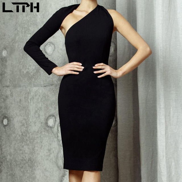 Hot sale New 2020 spring One shoulder women dress ins Star same style sexy slim solid Hollow out Open Back bag hips long dresses 4