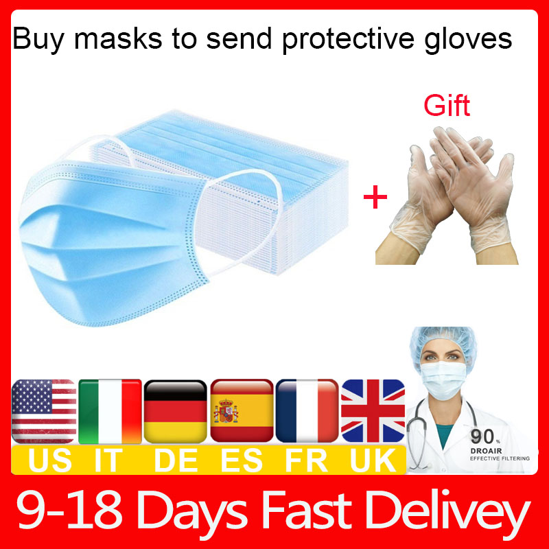 Fast Delivery  Face Masks Protective 3 Layers Filter  For Germ Protection Meltblown Cloth Earloop Mouth Masks