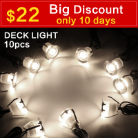 LED Deck Lights Kit, Stainless Steel Waterproof Outdoor Garden Yard Decoration Garden Lamp Recessed Wood Deck Stairs Light 10pcs