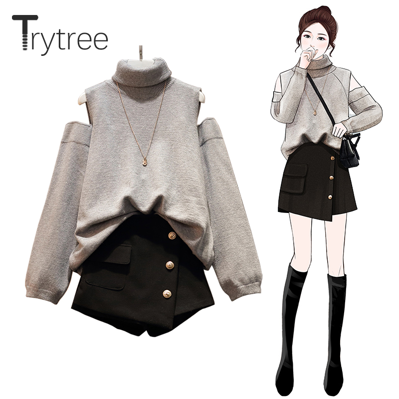 Trytree Autumn Winter Two Piece Set Casual Turtleneck Loose Sweater Top + Skirt Mini Button Pockets Office Lady Set 2 Piece Set