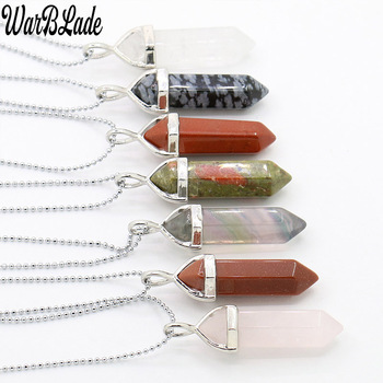 WarBLade 2019 Natural Stone Hexagonal Column Necklace Women Charm Pendant Two Sharp Angle Quartz Beads for Women Men Jewelry image