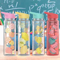 Bpa Free 750ml Tritan Plastic Sports Outdoor Water Bottle With Volume scale printing For Kitchen My Drink Juice Handle Kettle