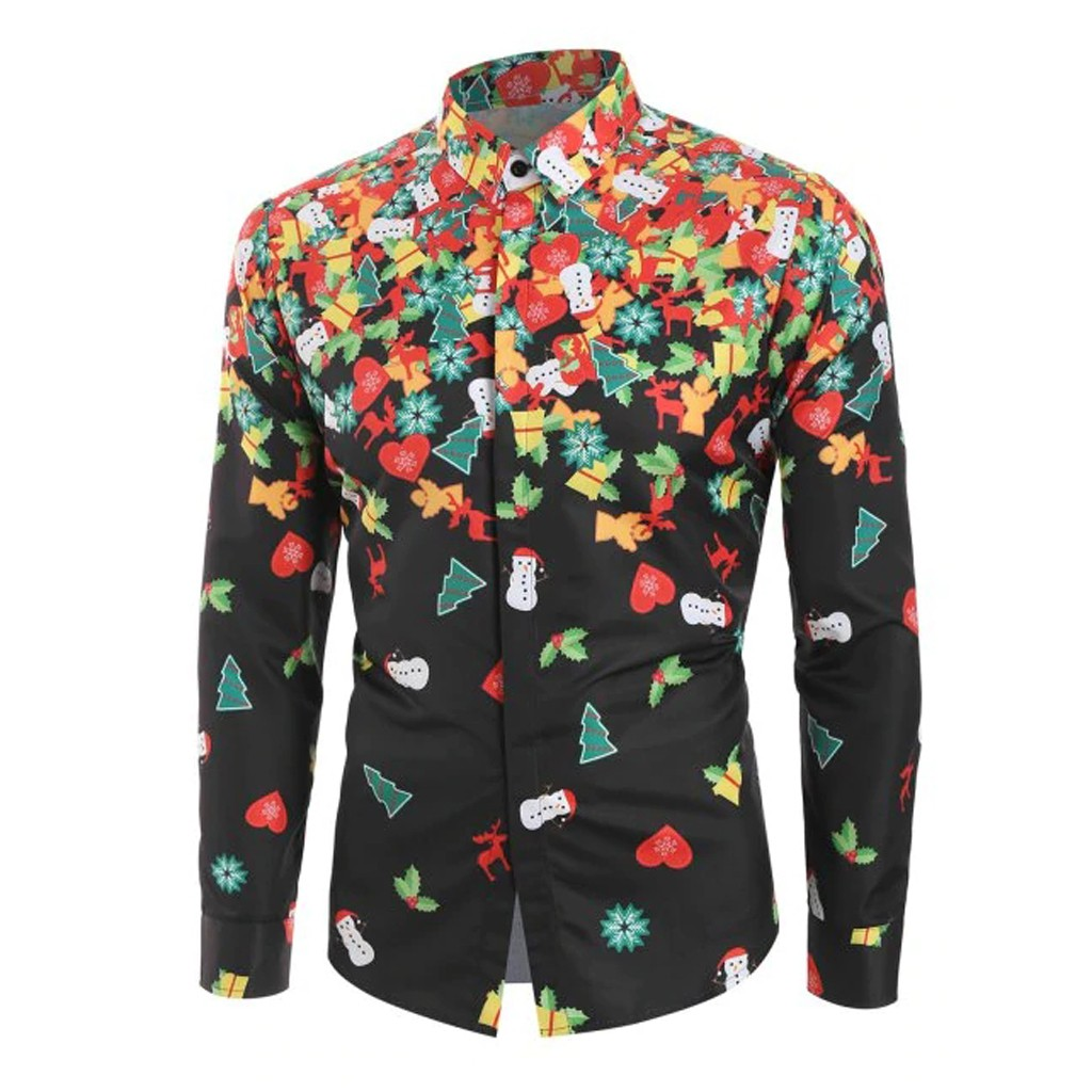 Men Casual Christmas Tree Printed Christmas Shirt Top Blouse Long Sleeve Male Shirts Party Chemise Homme Male Shirt Plus Size