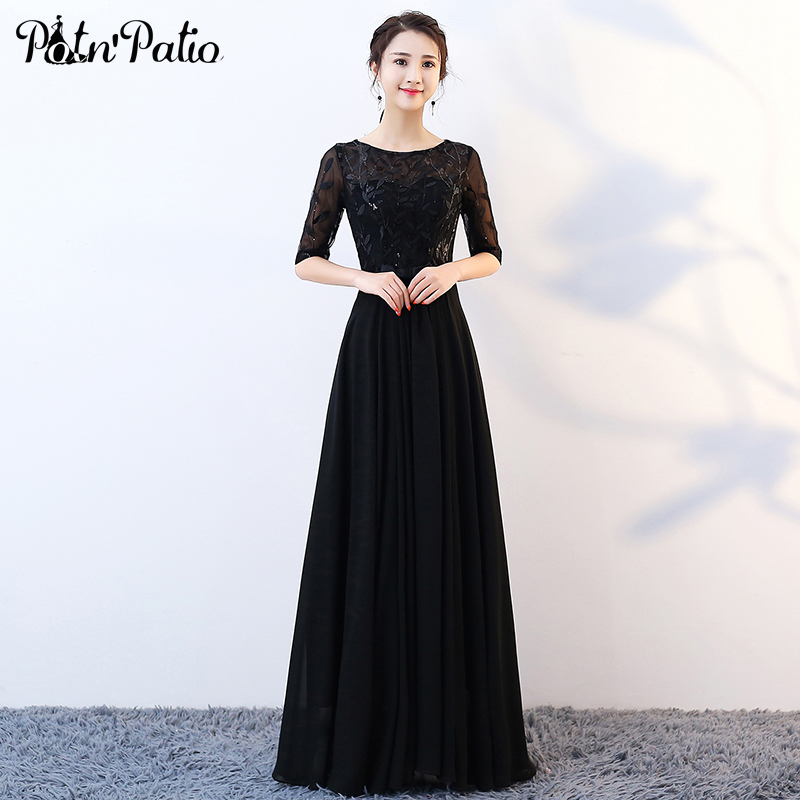 Elegant   Prom     Dresses   Long With Sleeves A-line Floor-length Women Formal Black Choir   Dresses   Sequined Lace Chiffon Evening Gowns