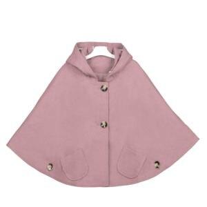 Image 4 - Chaqueta con capucha de mezcla de lana para niña, Poncho, Carseat, Color gris, manga de murciélago, bolsillos, moda de primavera y otoño