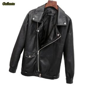 Image 2 - Guilantu 2020 Faux Pu Leather Jacket Women Motorcycle Biker Punk Streetwear Ladies Leather Coat Plus Size Loose Jacket Female