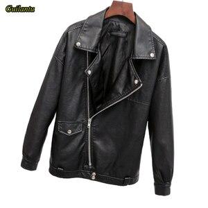 Image 2 - Guilantu 2020 פו עור מפוצל מעיל נשים אופנוע אופנוען פאנק Streetwear גבירותיי עור מעיל בתוספת גודל רופף נשי מעיל
