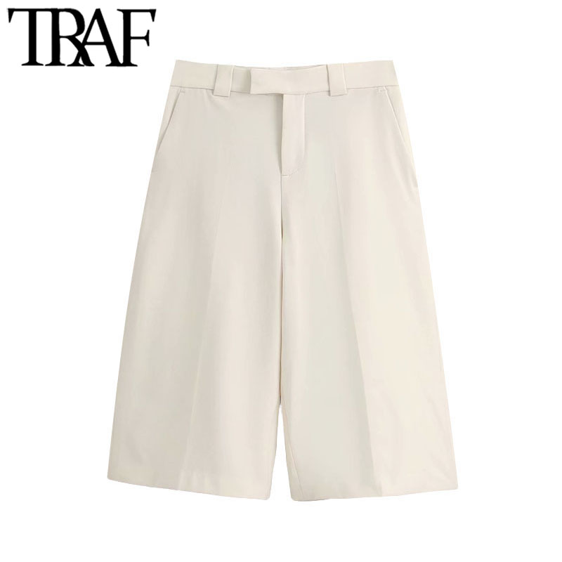 TRAF Women Chic Fashion Side Pockets Straight Shorts Vintage High Waist Zipper Fly Female Short Pants Pantalones Cortos