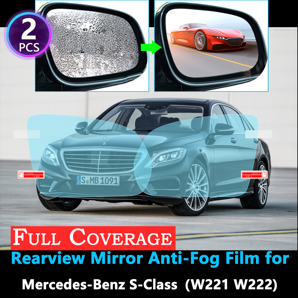 Full Cover Anti Fog Film for Mercedes Benz S-Class W220 W221 W222 S-Klasse S300 S320 S400 S500 S600 Rearview Mirror Rainproof image