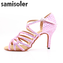 Samisoler Pink 2019 New latin dance shoes woman ballroom Rhinestone Ballroom Shoes latce