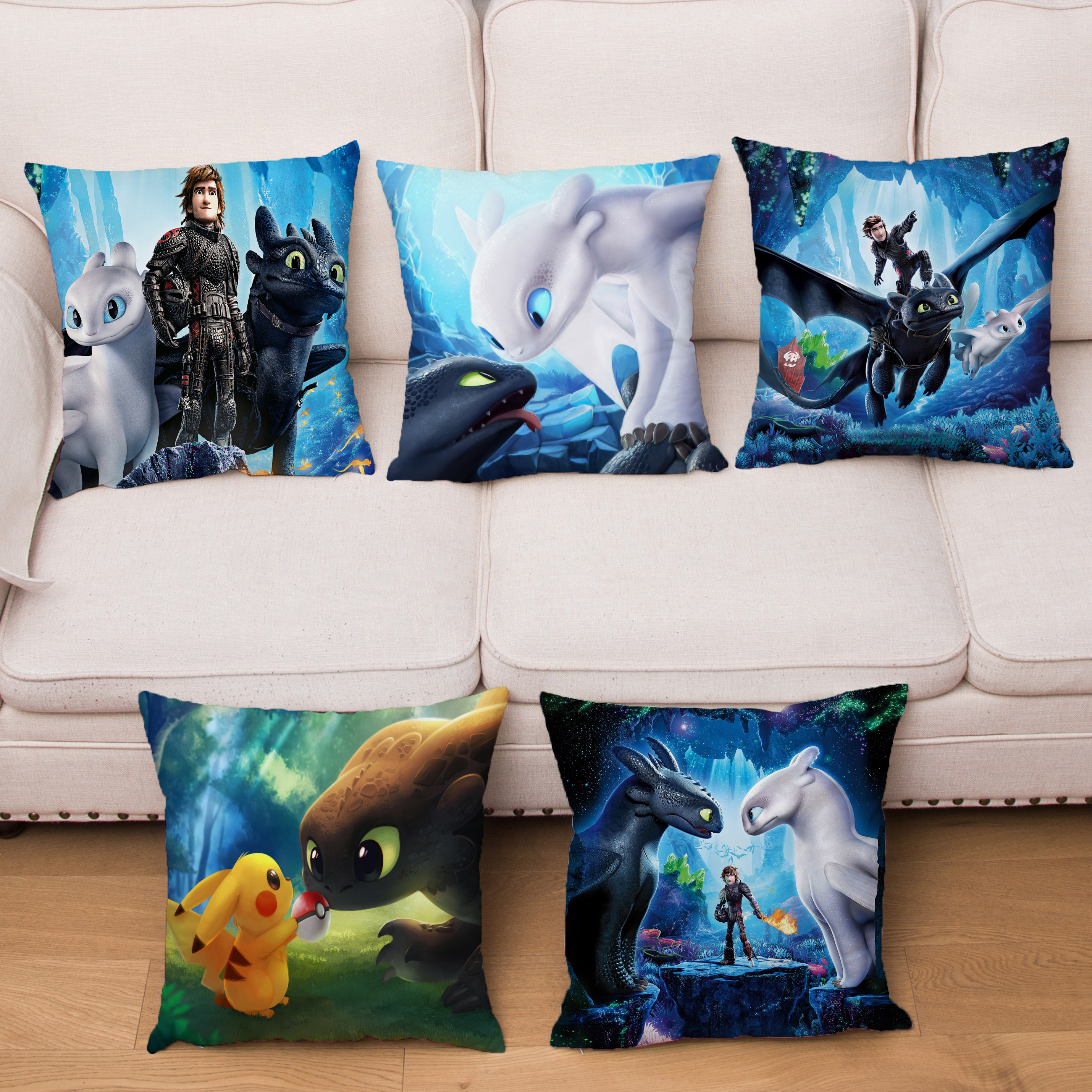 Anime How To Train Your Dragon Cushion Cover Cute Dinosaur Print Pillows Covers Short Plush Pillowcase Home Decor Pillow Case