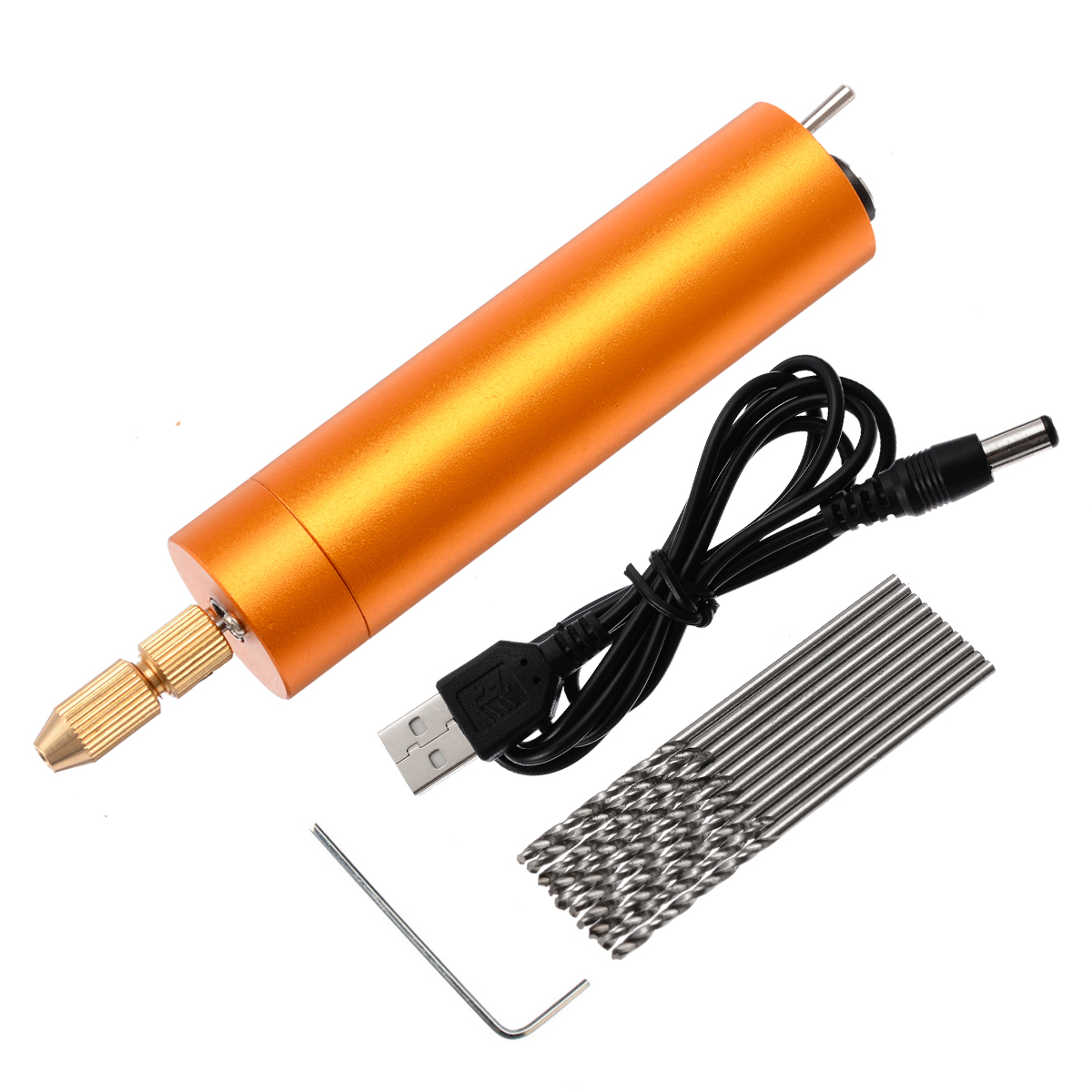 New Electric Mini Hand Drill Aluminum Electric Motor Drill+10x Twist Bits DC 5V For PCB PVC Plastic Board Drilling Wood Carving