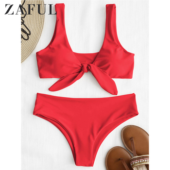 ZAFUL Padded Front Knot Bikini Set Women Straps Solid Swimsuit Sexy Swimwear Summer Swimming Ladies Bathing Suit Beachwear zaful 2018 women new pineapple print thong bottom bikini set summer sexy swimwear spaghetti straps swimsuit colorful biquini