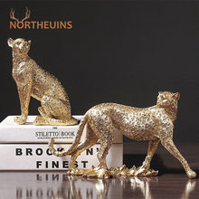 NORTHEUINS European Vintage Panther Statue Animal Figurine Leopard Jaguar Sculpture Home Living Room Office Decoration Decor