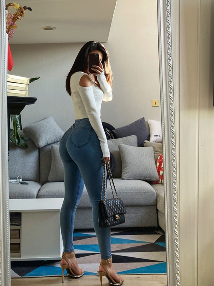 European and American jeans jeans women high waist stretch skinny fashion street slim cropped pants spring and autumn models