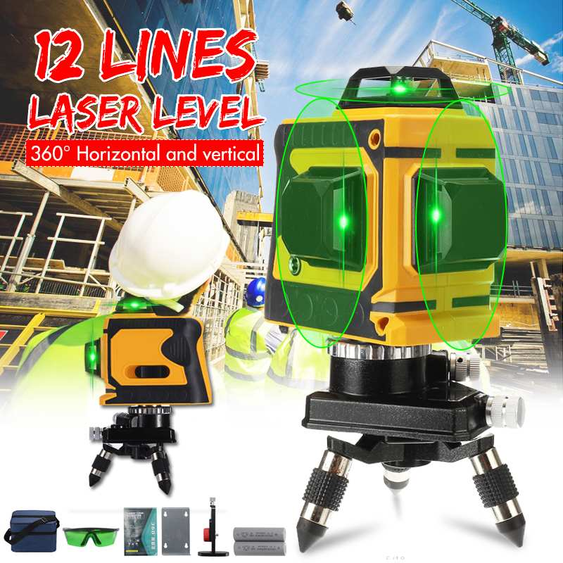 <font><b>12</b></font> Green <font><b>Lines</b></font> <font><b>Laser</b></font> <font><b>Level</b></font> Bracket <font><b>3D</b></font> 360 Adjustable Self-Leveling Horizontal Vertical Cross Waterproof Outdoor Powerful Beam image