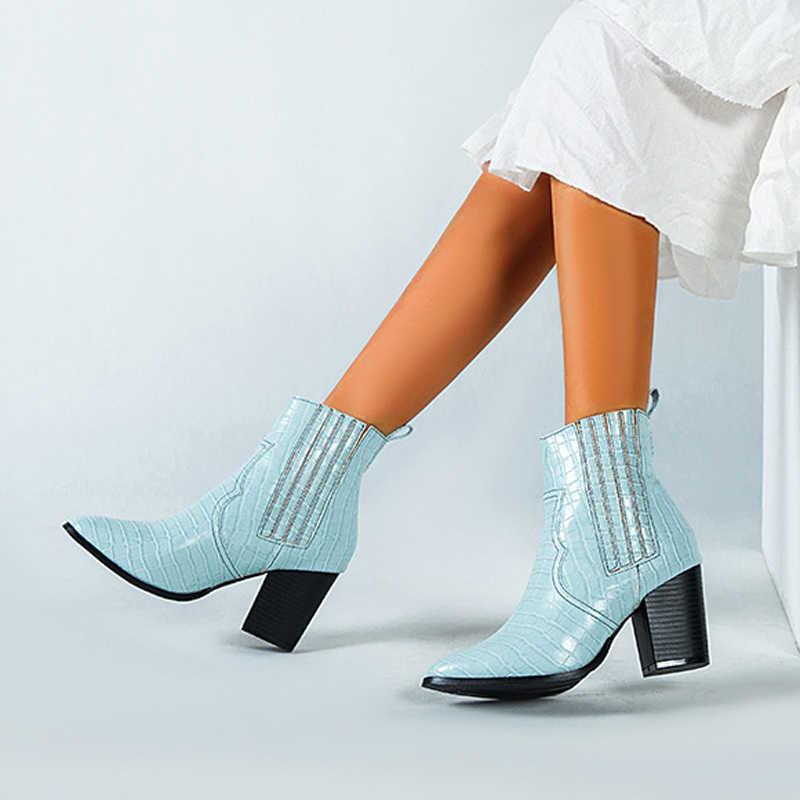 2019 motosiklet batı kovboy çizmeleri kadın timsah desen deri kısa Cossacks yüksek topuklu Cowgirl patik ayak bileği botas ayakkabı