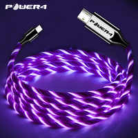 Cable de carga de teléfono Power4 EL de luz fría USB C para Samsung Cable de carga rápida Micro USB tipo C que brilla para Lightning iPhone