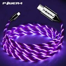Power4 EL קר אור USB C טלפון טעינת כבל לסמסונג מהיר טעינת מיקרו USB סוג C כבל זוהר עבור ברקים iPhone