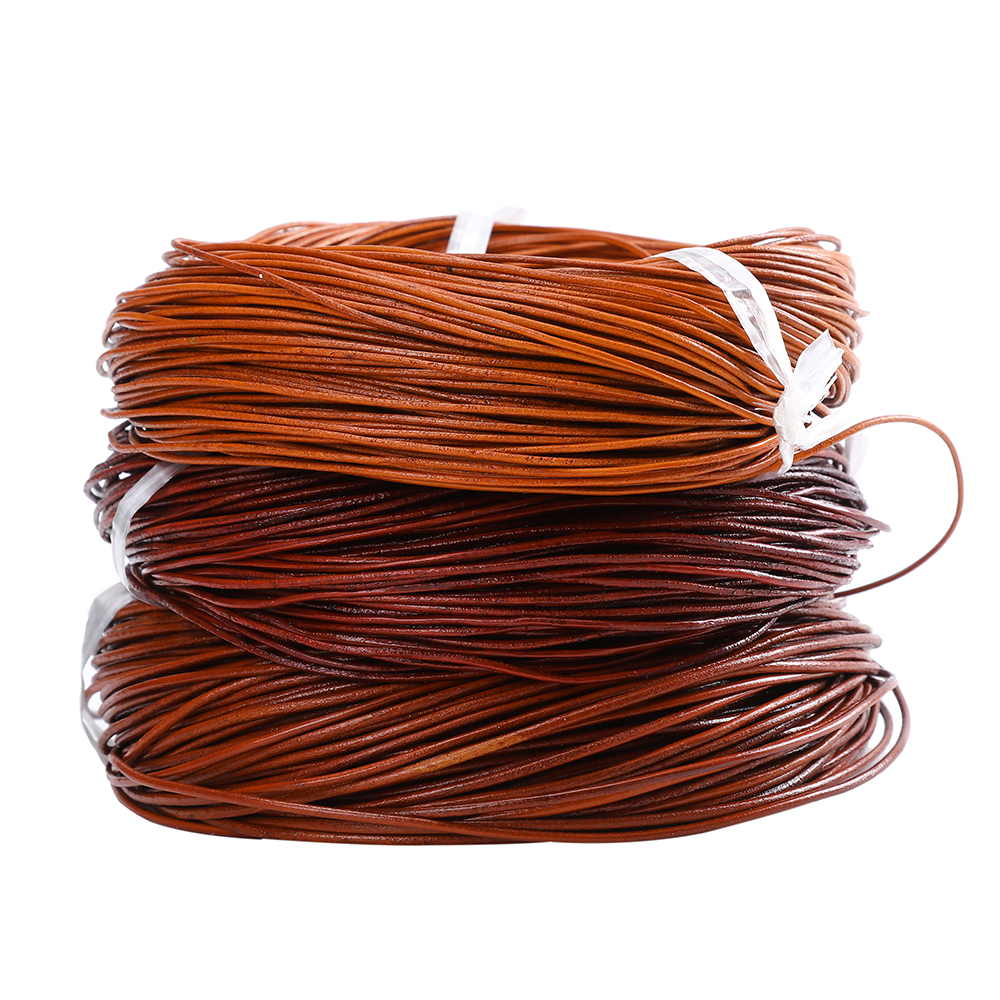 50 Meter Dia 1.5/2/3/4 MM Natural Color Real Genuine Leather Cord Round Rope String For DIY Necklace Bracelet Jewelry Cord