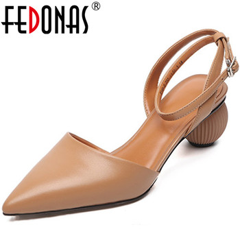 FEDONAS 2020 Office Prom Meal Buckle Women Shoes Genuine Leather High Heels Pumps Spring Summer  Newest Pointed Toe Shoes Woman