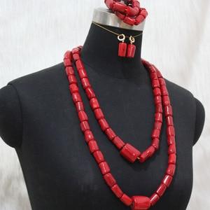 Image 3 - Newest Dudo Jewelry African Bridal Jewelry Sets Orange Original Coral Beads Jewelry Set For Nigerian Weddings Women Free Ship