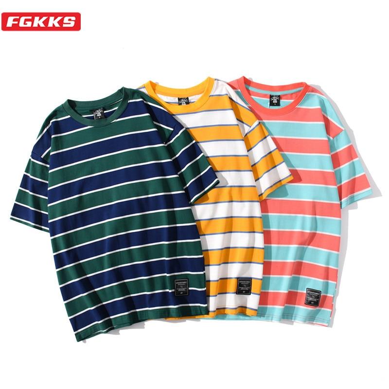 FGKKS Men T Shirts Stripe Print High Quality Men's Brand Casual Short Sleeve Top Fashion Harajuku Male T-Shirt