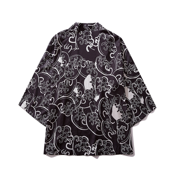 Summer New Men Oversized Streetwear Koi Japanese Style Cardigan Jackets Fashion Printed Hip Hop Male Kimono Jacket Coats image