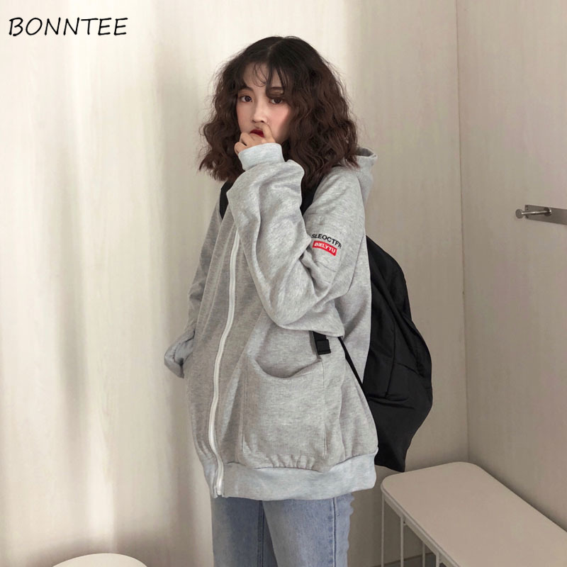 Hoodies Women Hooded Thicker Plus Velvet Solid Letter Embroidered Zip-up Pockets Loose Womens Hoodie Leisure Simple Chic Trendy