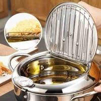 Marmite de cuisine Thermometre Tempura friteuse casserole ustensiles de cuisine outils frits contrôle de la température Pot de poulet 5