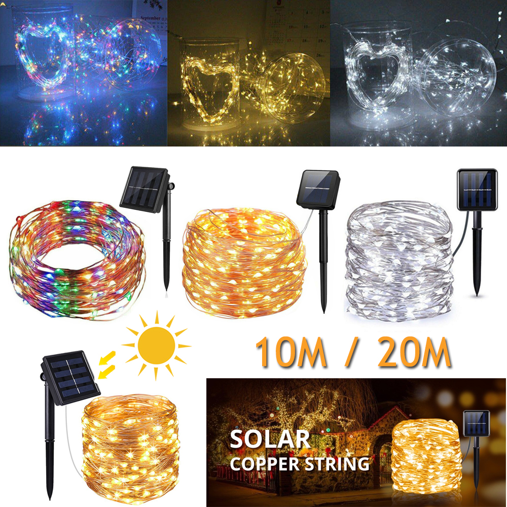 100 LED 10M/20M Solar Powered LED RGB Fairy Light String Wedding Party Xmas Home Garden Outdoor Decoration Lamp|Lighting Strings| |  - title=