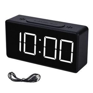 Зеркальный будильник, светодиодный, цифровой дисплей, электронный, температурный календарь, настольный будильник, зарядка через usb, студенческие настольные часы