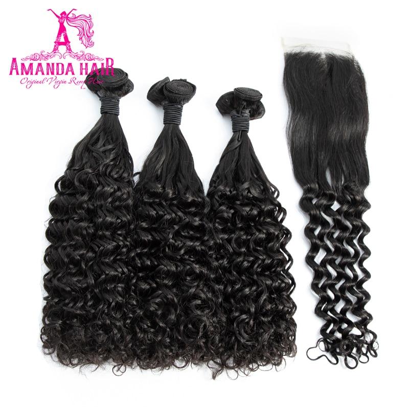 Amanda Brazilian Virgin Hair 3 Bundles With Closure Double Drawn Hair Fumi Deep Curl 100% Unprocessed Human Virgin Hair