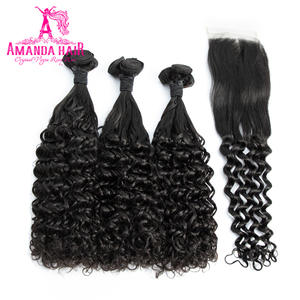 Amanda Double Drawn Human Hair with Closure 4x4 Funmi Deep Curly Unprocessed Virgin Hair Bundles With Closure Brazilian Hair