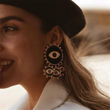2019 New Fashion Black Color Evil Eye Big Statement Earring Punk Exaggerated Dripping Oil Evil Eye Drop Earring Party Jewelry(China)