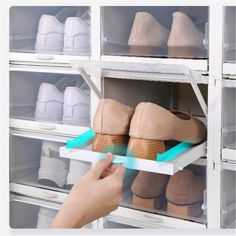 Lebih Tinggi H18.3cm Plastik Sepatu Penyimpanan Kotak Tarik Jenis Transparan Lemari Laci Stackable Sneaker Kotak Flip Kotak Penyimpanan Penyelenggara