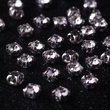 Lucia Crafts 100pcs 4mm Glass Silver Base Rhinestones Clear Crystal AB Sew On Rhinestone Claw Sewing Flat Back DIY